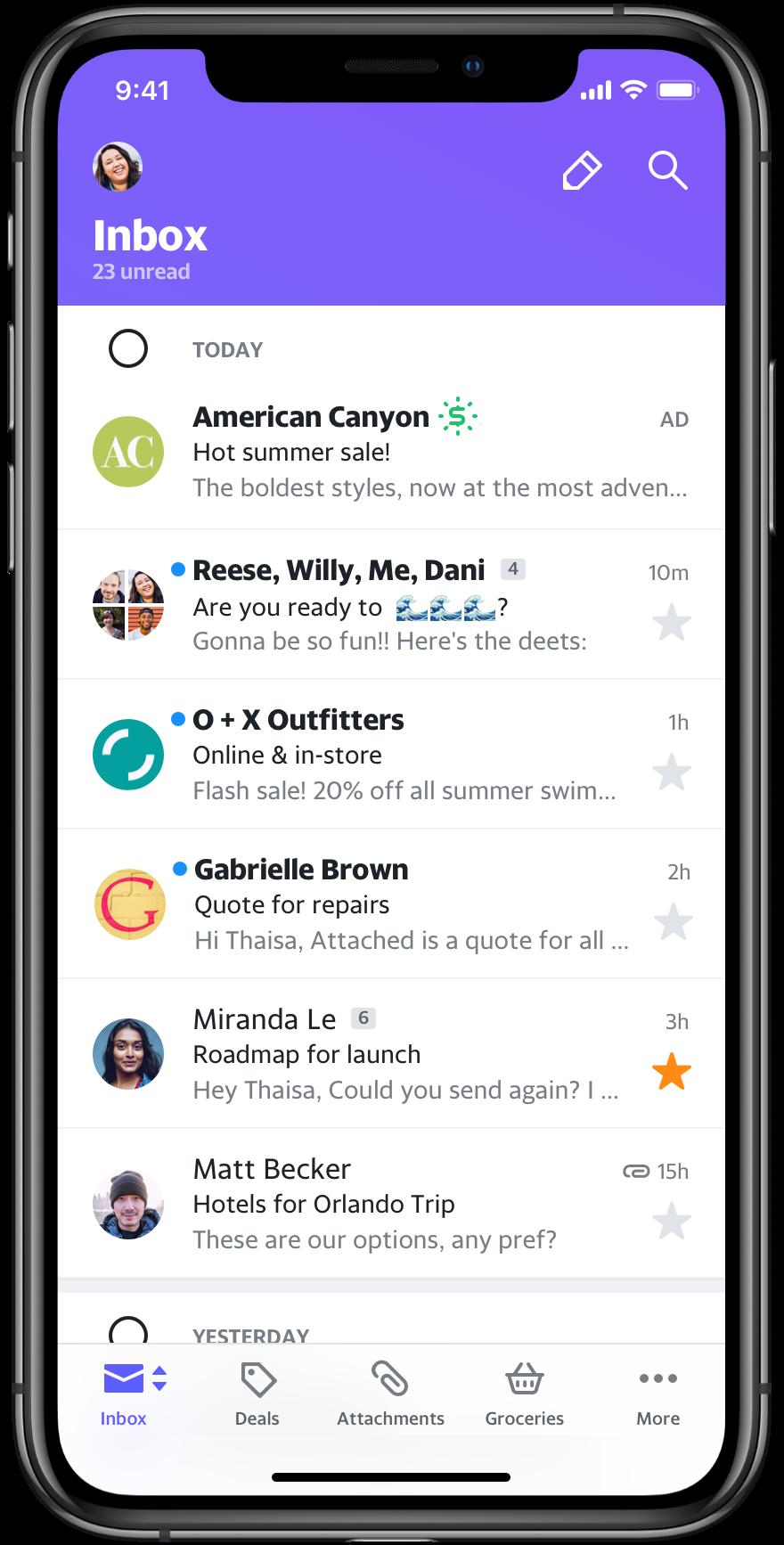 Yahoo Mail iOS Inbox