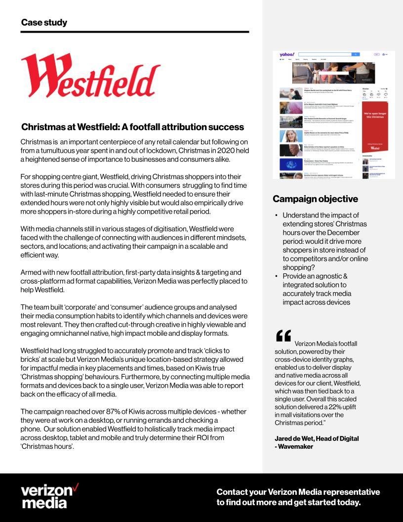 Westfield x verizon Media case study