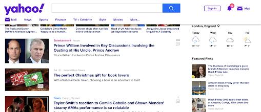 Yahoo National Book Tokens native ad