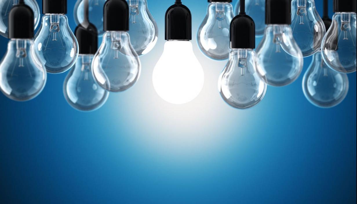 A cluster of clear lightbulbs.