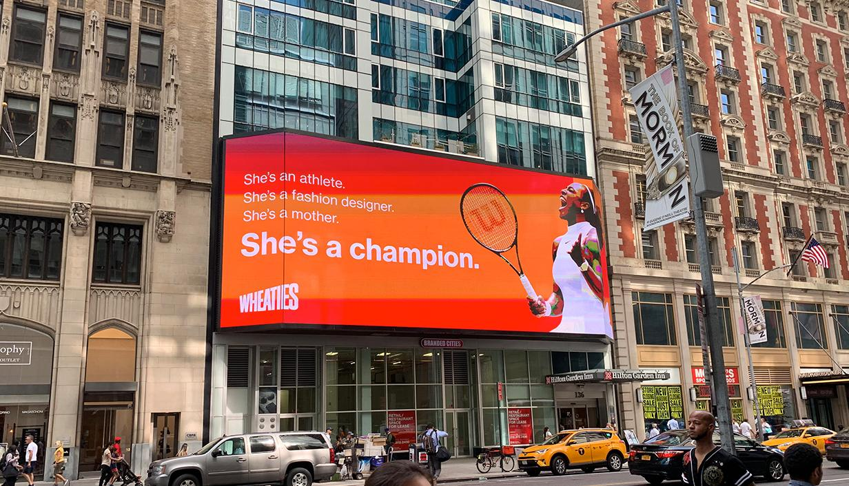 DOOH Wheaties ad featuring Serena Williams