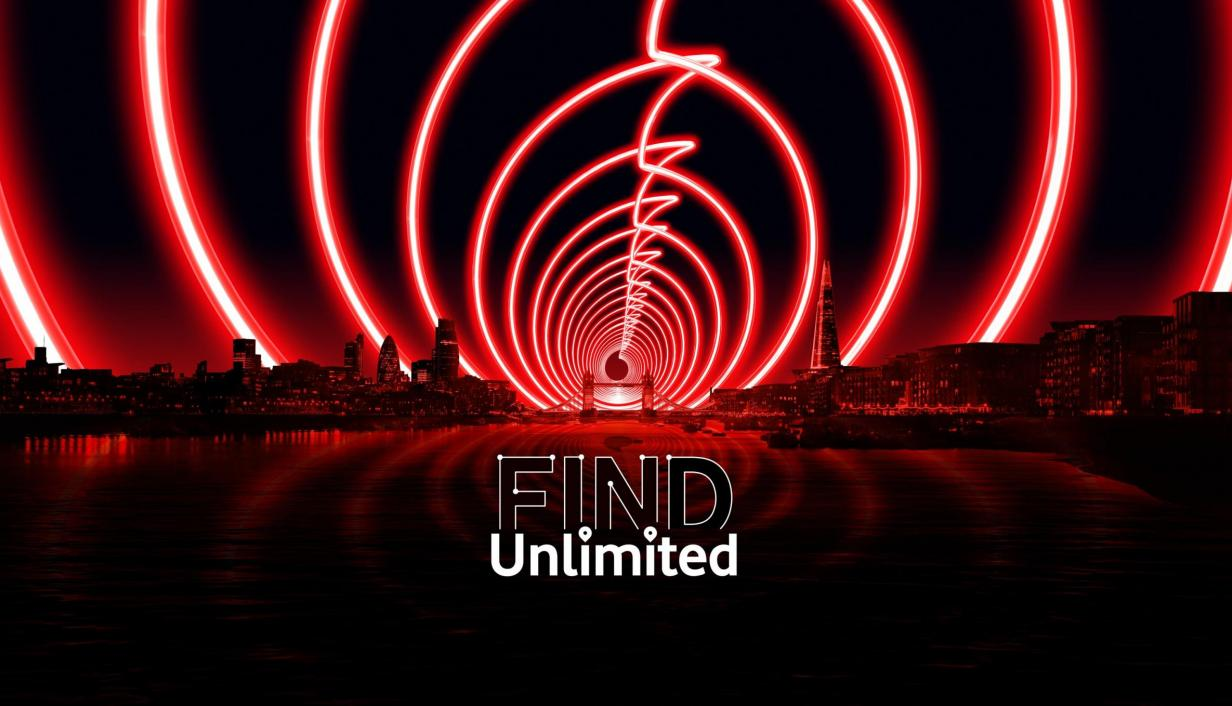Vodafone Find Unlimited logo against London backdrop