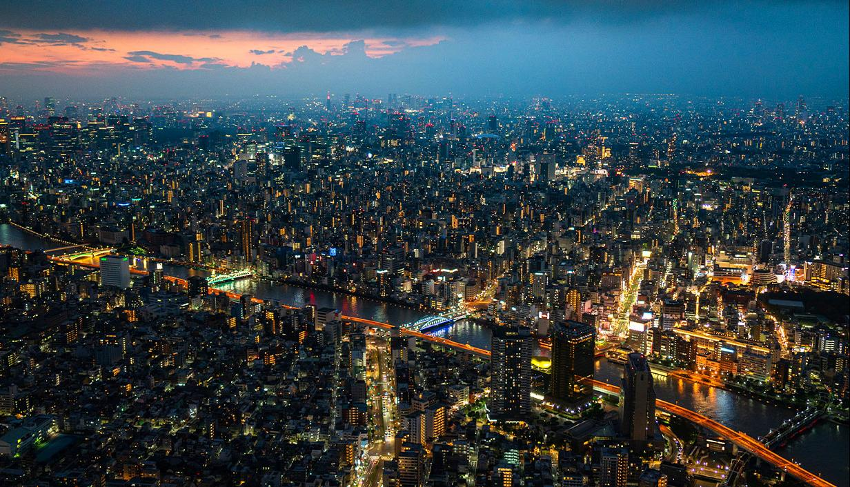 City lights by night