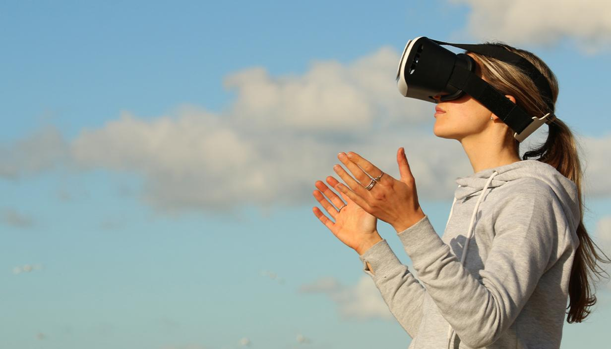 Image of woman using VR