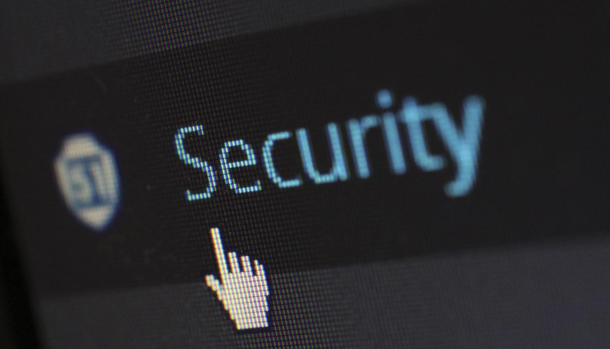 fondo negro con la palavra security en azul